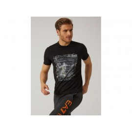 EA7 STRETCH COTTON T-SHIRT WITH BASKETBALL PRINT