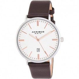 Akribos XXIV Men's Classic Textured Dial and Brown Leather Watch - Мъжки часовник